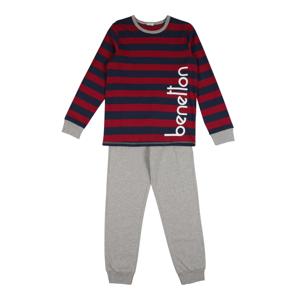 UNITED COLORS OF BENETTON Pyžamo  modrá / ohnivá červená / šedý melír
