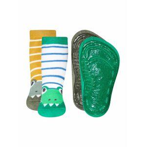 EWERS Ponožky 'Krokodil'  zelená / bílá / žlutá