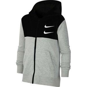 Nike Sportswear Mikina 'SWOOSH'  černá / šedý melír / bílá