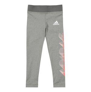 ADIDAS PERFORMANCE Sportovní kalhoty  šedý melír / bílá / oranžově červená