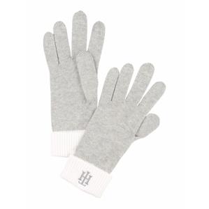 TOMMY HILFIGER Prstové rukavice  šedá / bílá