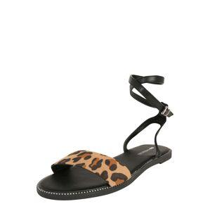 even&odd Páskové sandály  hnědá / černá