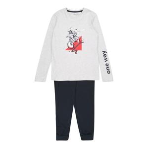 SCHIESSER Pyžamo 'Downhill'  tmavě modrá / šedý melír / červená / bílá