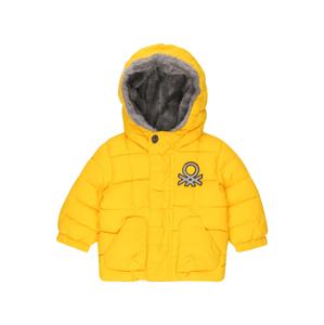 UNITED COLORS OF BENETTON Zimní bunda  svítivě žlutá / šedá / černá