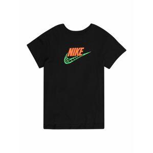 Nike Sportswear Tričko  černá / svítivě zelená / jasně oranžová