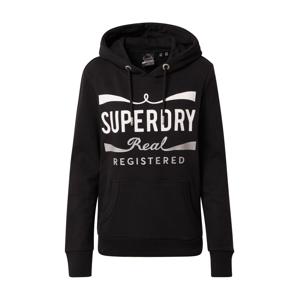Superdry Mikina 'MONO REAL ENTRY'  černá / bílá