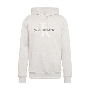 Calvin Klein Jeans Mikina 'MONOGRAM'  světle šedá / černá / bílá
